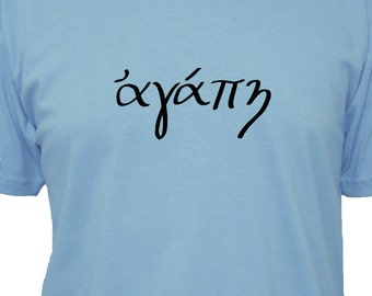 LOVE in Greek Mens Cotton Shirt - 3 Colors Available - Gift Friendly