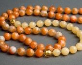A Hot Day in Rome Necklace - Orange Calcite, Aragonite, Murano Glass