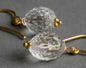 Lamppost Earrings - Vintage 1950s Glass, 24 Karat Gold Over Sterling Silver