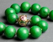 Green Stone Necklace Vintage 1980 Cloisonne, Quartzite, Gold Fill - Stone Forest
