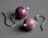 Purple Agate Earrings with Sterling Silver - Lavender Plum - Pompadour