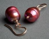 Rose Gold Earrings Pink Freshwater Pearl - La Vie en Rose