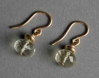 Green Amethyst Prasiolite Earrings with Gold - February Birthstone - Sparkler