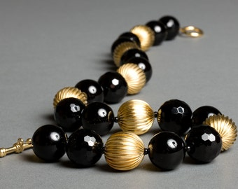 Black and Gold Necklace with Vintage 18 Karat Gold and Onyx under 100 - Mulholland Drive