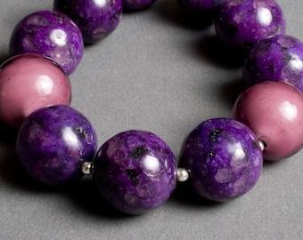 Purple Stone Bracelet - Fossil, Venetian Glass, Sterling Silver - Orchid