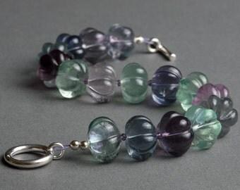 Rainbow Fluorite Bracelet with Amethyst and Sterling Silver under 50 - Mermaid