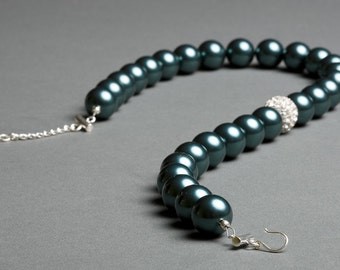 Teal Swarovski Tahitian Pearl Necklace with Crystal and Sterling Silver - Archipelago