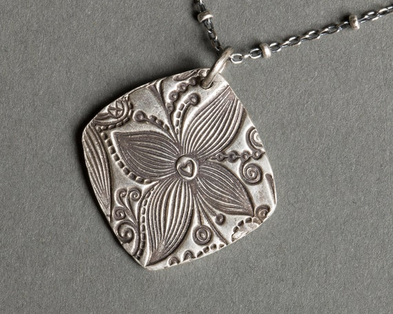 Recycled Pure Silver Flower Charm Pendant, Sterling Silver Chain Necklace under 100 - Aloha