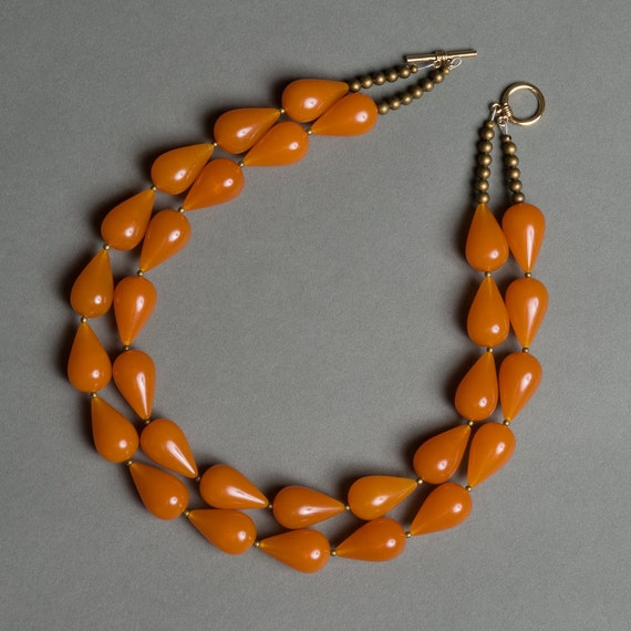 Amber Orange Necklace with Vintage Lucite and Brass under 100 - Koi