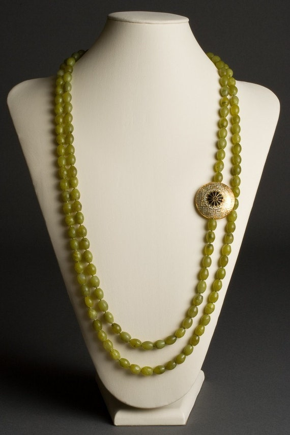Double Strand Necklace with Natural Olive Jade and Cloisonne