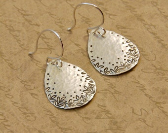 Sterling Silver Hammered Teardrop Earrings with Leaf Edge Texture