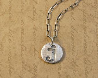 Fine Silver Whimsical Initial Letter J Charm Pendant