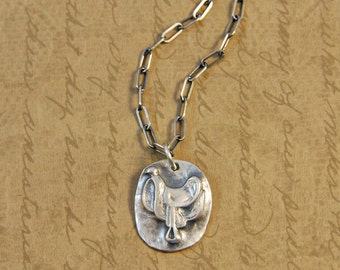 Fine Silver Rustic Saddle Charm Pendant