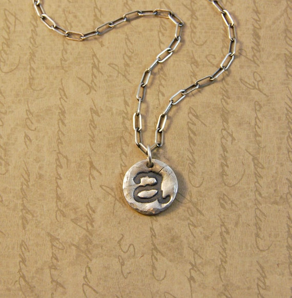 Fine Silver Whimsical Initial Letter A Charm Pendant and Sterling Silver Necklace