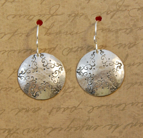 Sterling Silver Hammered and Textured Disk Round Earrings