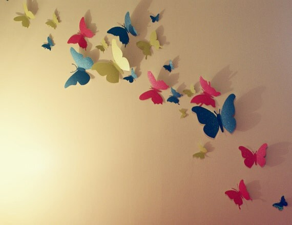 30 glitter 3d butterfly wall art circle burst for 3d wall butterfly decoration