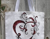 Hand Painted Organic Heart Tote