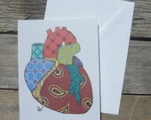 Pattern Anatomical Heart Card and or Print