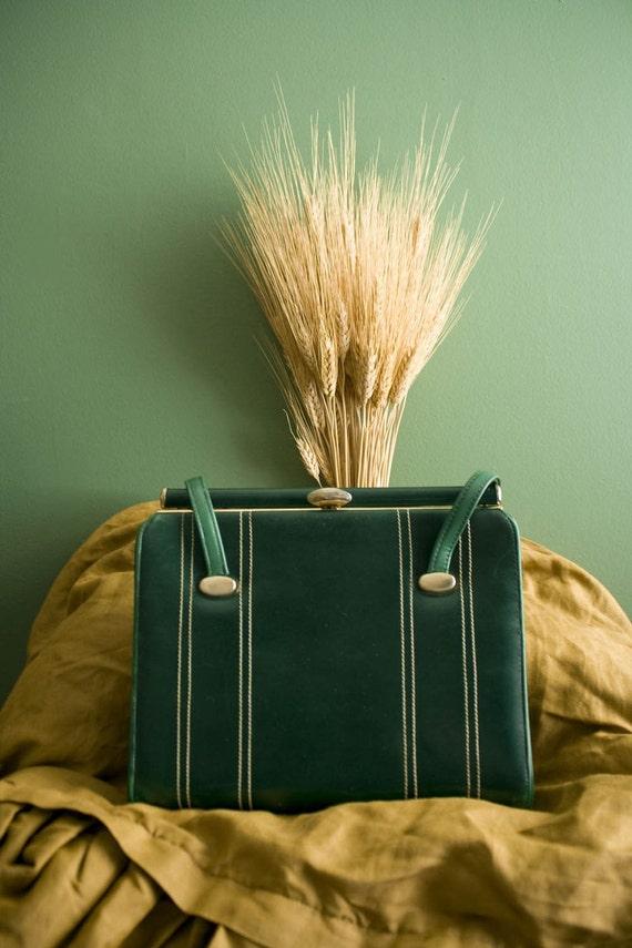 SALE Vintage 60's emerald green purse--Madmen style