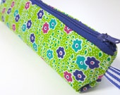 Slim pencil case or brush holder -  Small flowers on lime