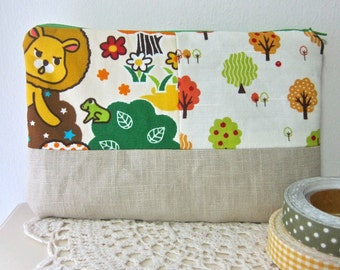 Zakka patchwork pencil case / make-up pouch - lion and apple trees