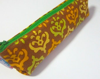 Slim pencil case or brush holder -  Golden motifs