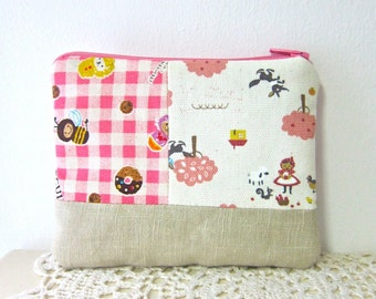 Zakka patchwork case / make-up pouch - Red riding hood and donuts