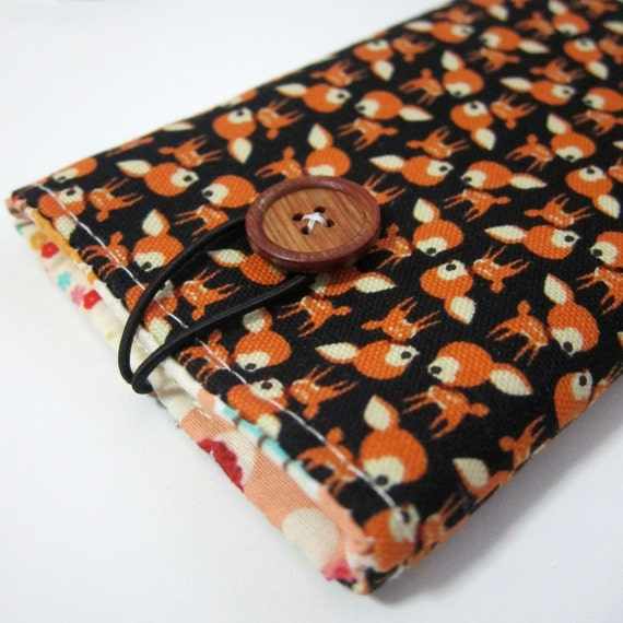 iPhone case iPhone pouch in rows of cute bambi  - with wooden button closure