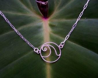 Sterling Silver  Wave Necklace, Wave Choker, Surfer Necklace