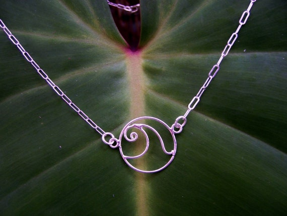 Sterling Silver  Wave Necklace, Wave Choker, Surfer Necklace