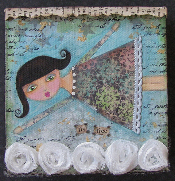 ORIGINAL Folk Art Painting Mixed Media - Whimsical Girl - Fly Free - Canvas - OOAK - 4x4