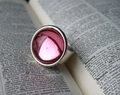 Rosy Glow - Adjustable Vintage Glass Ring