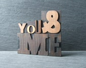 YOU and ME - Vintage Letterpress Words