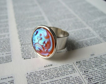 Frosted Amber - Adjustable Czech Glass Ring
