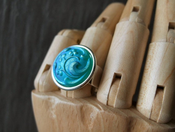 Frosted Teal  - Adjustable Czech Glass Ring