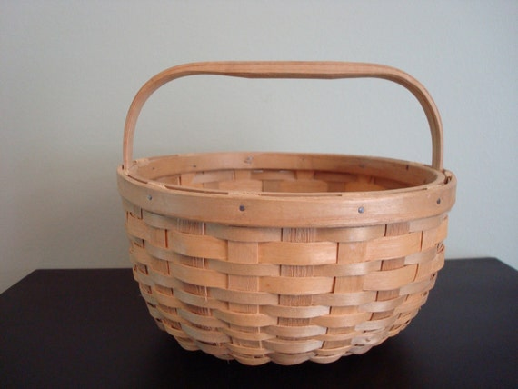 Wonderful vintage ash woven basket with wood handle