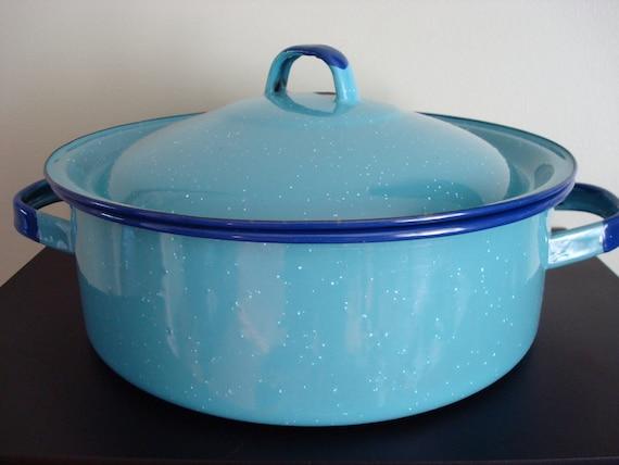 Vintage blue and cobalt blue enamelware pot with lid