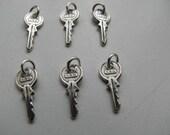 12 Sterling Silver Key Charm Pendants