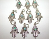 5 Hamsa Hand Charm Pendants, Sterling Silver with Opal Wholesale