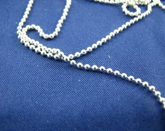 Bulk Unfinished Ball Chain 40 feet Sterling Silver 1mm Diamond Cut Beaded