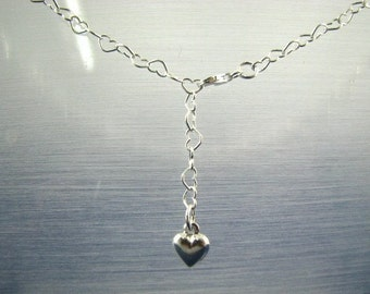 39 inch Belly Chain with Heart Charm Sterling Silver