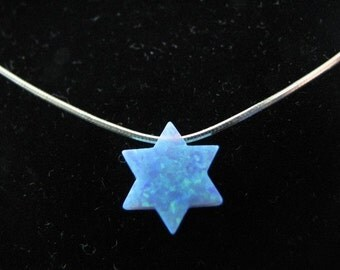 Blue Opal Star of David Necklace with Sterling Silver Chain