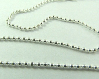 Sterling Silver 24 inch Facet Ball Chain Necklace
