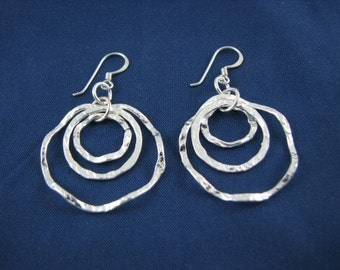Hammered Hoop Earring Sterling Silver 3 Layered Circles