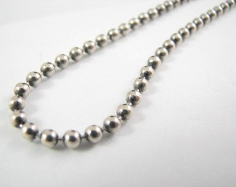 Oxidized 18 inch Sterling Silver 4mm Ball Chain Necklace, Oxidized Bead Chain