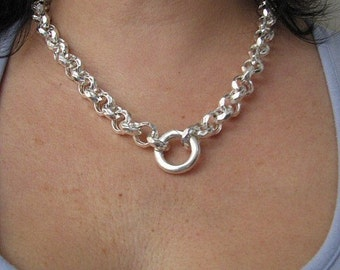 20 inch Hammered Rolo Chain Necklace 12mm Links Sterling Silver