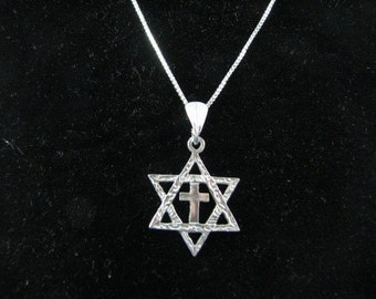 Sterling Silver Messianic Star of David with Cross Pendant Necklace