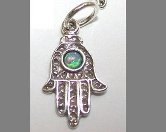 Sterling Silver Hamsa Hand with Genuine OPAL Stone Charm Pendant