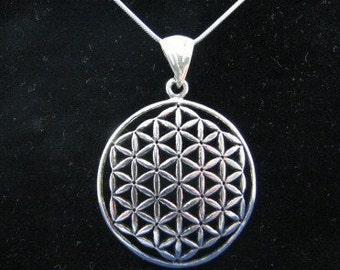 Original Large Flower of Life Necklace Genuine Sterling Silver