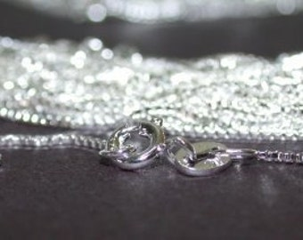 10 pcs Sterling Silver 1mm Box Chains 16 inch Necklaces with Spring Clasps, Highest Quality Solid 925 Silver Chain Supply